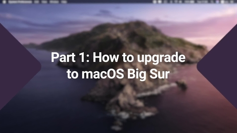 Thumbnail for entry Updating to MacOS Big Sur