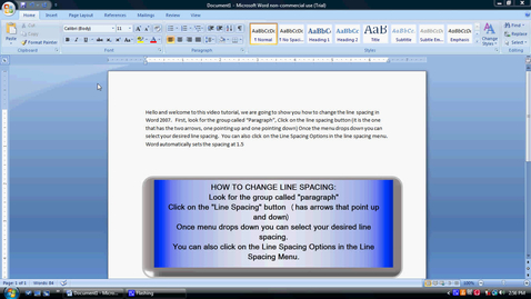 Thumbnail for entry Changing Line Spacing in Word 2007