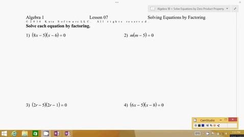 Thumbnail for entry Algebra 1B Lesson 07 #1-4