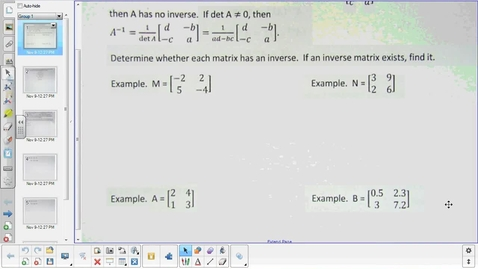 Thumbnail for entry Inverse matrices  1-30-15