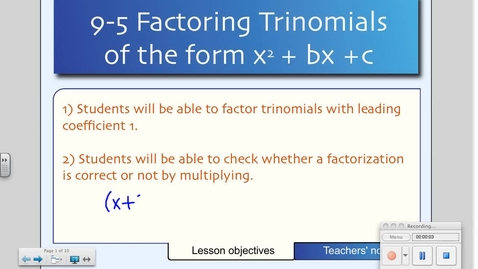 Thumbnail for entry 9-5 Factoring Polynomials of the Type x^2+bx+c