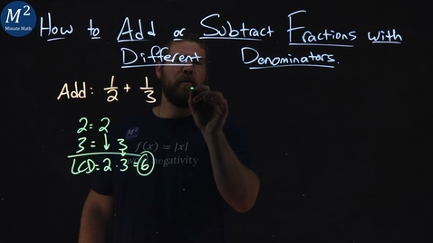 Thumbnail for entry How to Add or Subtract Fractions with Different Denominators | 1/2+1/3 | Part 1 of 6 | Minute Math