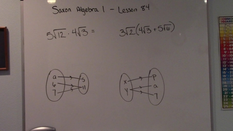 Thumbnail for entry Saxon Algebra 1 - Lesson 84 - Multiplication of Radicals - Functions