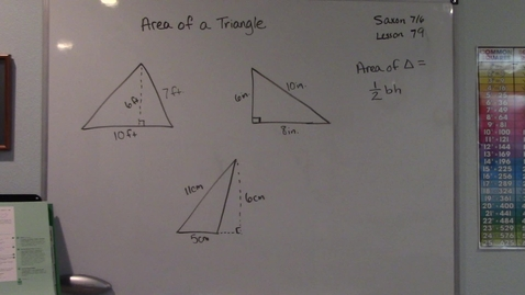 Thumbnail for entry Saxon 7/6 - Lesson 79 - Area of a Triangle