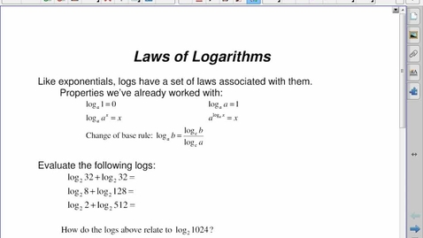 Thumbnail for entry PC30 8.3 Laws of Logs