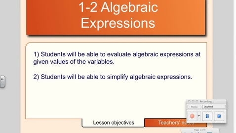 Thumbnail for entry 1-2 Algebraic Expressions
