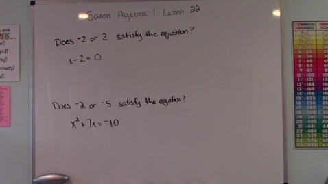 Thumbnail for entry Saxon Algebra 1 - Lesson 22 - Conditional Equations