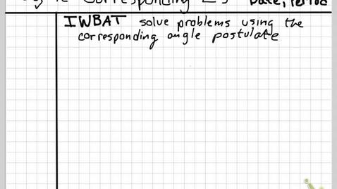 Thumbnail for entry obj4c Corresponding Angles