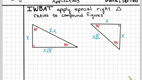 Thumbnail for entry Obj 15C Special Right triangle Applications