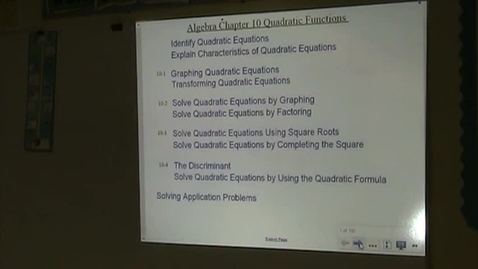 Thumbnail for entry Alg Lesson 10-1 Quadratic Equations