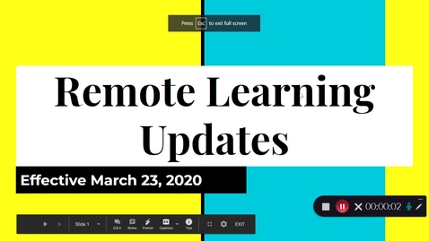 Thumbnail for entry Remote Learning Updates - March 20th 2020, 7:54:38 am