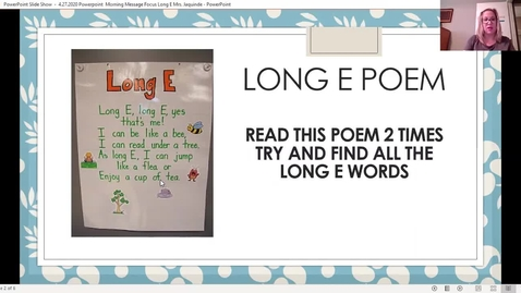 Thumbnail for entry Morning Message  Focus Long Vowel E 4.27.2020  by: Mrs. Jaquinde