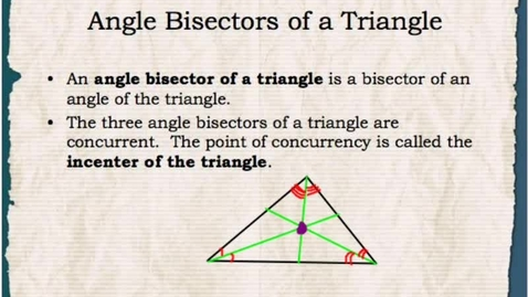 Thumbnail for entry Math 1: Angle Bisectors and Incenters