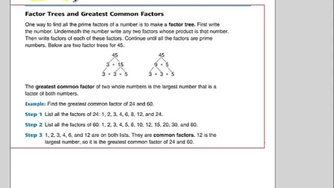 Thumbnail for entry Math 12.1  Greatest Common Factor
