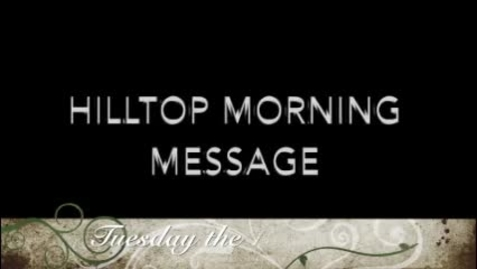 Thumbnail for entry Hilltop Morning Message 6-16-2020