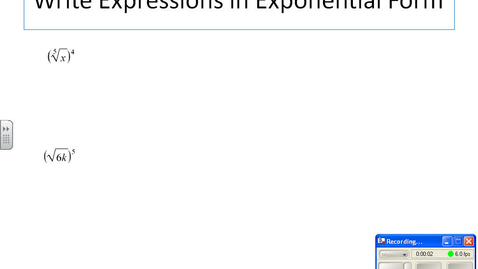 Thumbnail for entry radicals to exponents, exponents to radicals