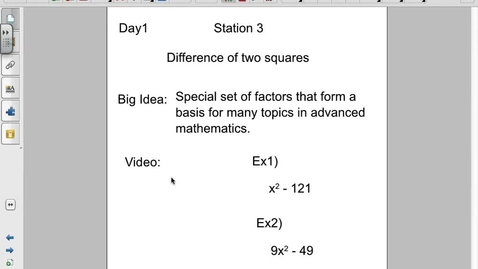 Thumbnail for entry Factoring a difference of squares