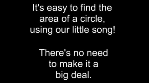 Thumbnail for entry Area of a Circle - SONG