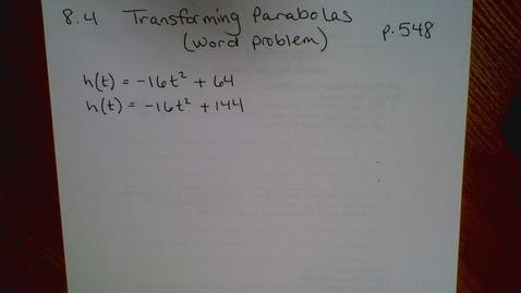 Thumbnail for entry Algebra I - Parabola Word Problem (8.4)