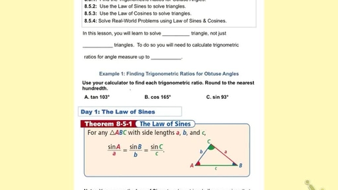 "Thumbnail for entry GeoB Lesson 8:5 part 1  ""The Law of Sines"""