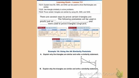 "Thumbnail for entry GeoB Lesson 7:3 ""Triangle Similarity - SSS, SAS & AA"""