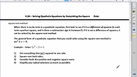 Thumbnail for entry PC20 4.3A Solving Quad Eq'n by Completing the Square (part1)