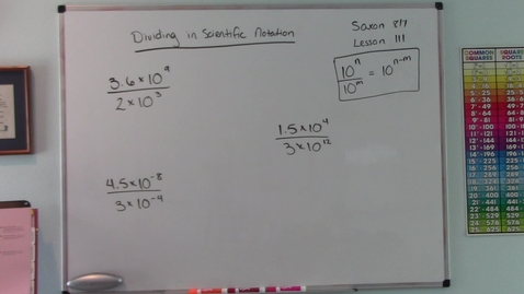 Thumbnail for entry Saxon 8/7 - Lesson 111 - Dividing in Scientific Notation