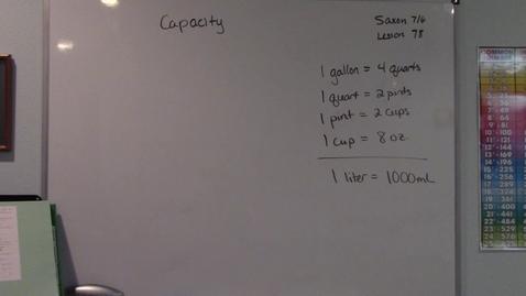 Thumbnail for entry Saxon 7/6 - Lesson 78 - Capacity