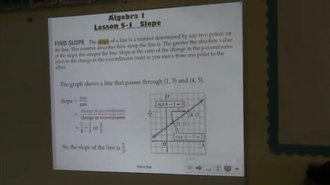 Thumbnail for entry Alg Lesson 5-1 Slope Part 1