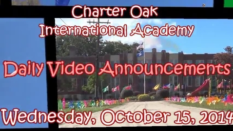 Thumbnail for entry October 15, 2014 Announcements Lyra, Gavin, Robert