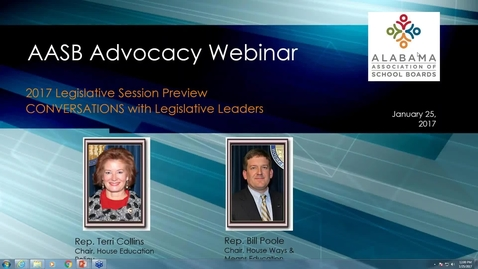 Thumbnail for entry Jan. 25, 2017 Legislative Advocacy Webinar