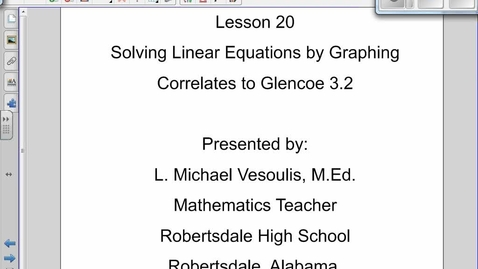 Thumbnail for entry Solving Linear Equations by Graphing