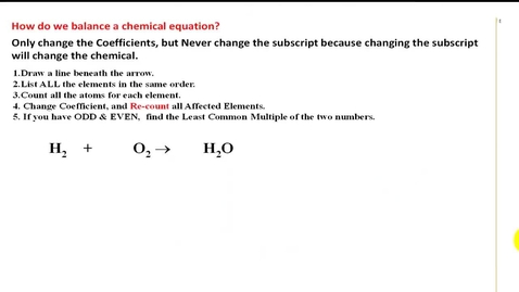 Thumbnail for entry How to balance a chemical equation