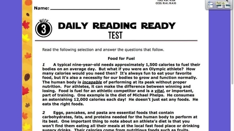 Thumbnail for entry Reading Ready Test Friday, Nov. 6