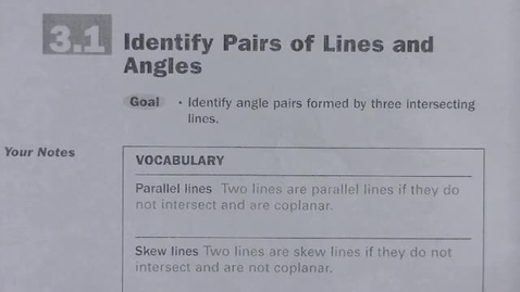 Thumbnail for entry Geom 3_1 Pairs of Lines and Angles