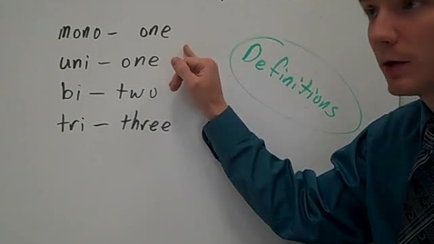 Thumbnail for entry Greek and Latin prefixes mono, uni, bi, and tri definitions