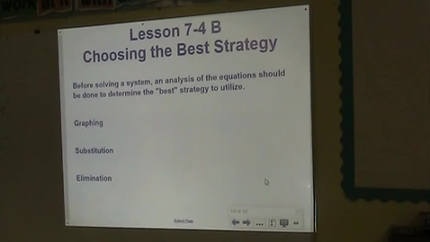Thumbnail for entry Alg Lesson 7-4 B Choosing a method for Solving Systems of Equations