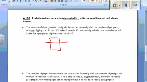 Thumbnail for entry Inverse Variation 18.3 Example 1 Word Problems