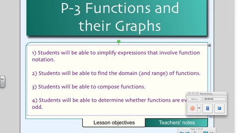 Thumbnail for entry P3 Functions and their Graphs