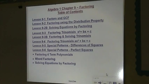 Thumbnail for entry Alg Lesson 9-5 Factoring Differences of Squares