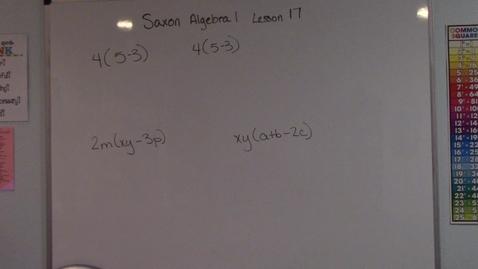 Thumbnail for entry Saxon Algebra 1 - Lesson 17 - Distributive Property