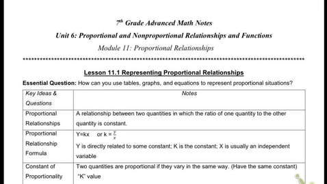 Thumbnail for entry 11.1 Representing proportional relationships