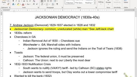 Thumbnail for entry APUSH Review 5: Jacksonian Era