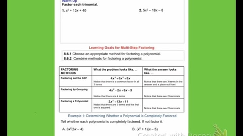 """Thumbnail for entry Alg2A """"Factoring Review Day 4"""""""
