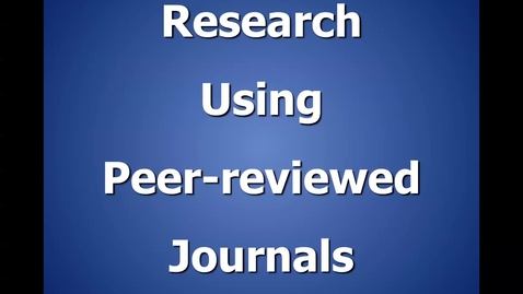 Thumbnail for entry Peer Reviewed