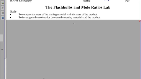 Thumbnail for entry Flashbulbs and Mole Ratios Lab and Notes