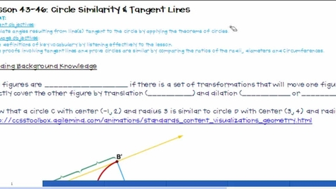 Thumbnail for entry Circle Similarity & Tangent Lines