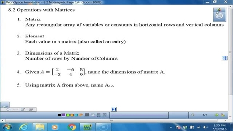 Thumbnail for entry 8.2 Matrices Notes