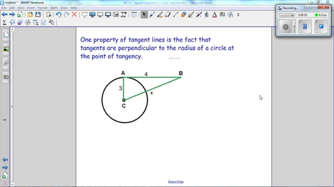 Thumbnail for entry Special Segments in Circles, tangents are perpendicular to the radius at the point of tangency. Use this fact to find x.