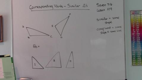 Thumbnail for entry Saxon 7/6 - Lesson 109 - Corresponding Parts - Similar Triangles